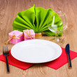 Stock Photo: Table setting on wooden background