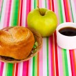Classical breakfast. Coffee and bun — Stock Photo