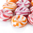 Striped fruit candies isolated on white — Stock Photo