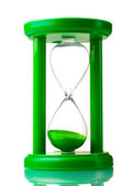 Green hourglass isolated on white — Stock Photo
