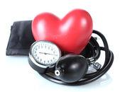 Corazón aislado en blanco y negro tonómetro — Foto de Stock