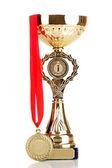 Trophy cup och medalj isolerad på vit — Stockfoto