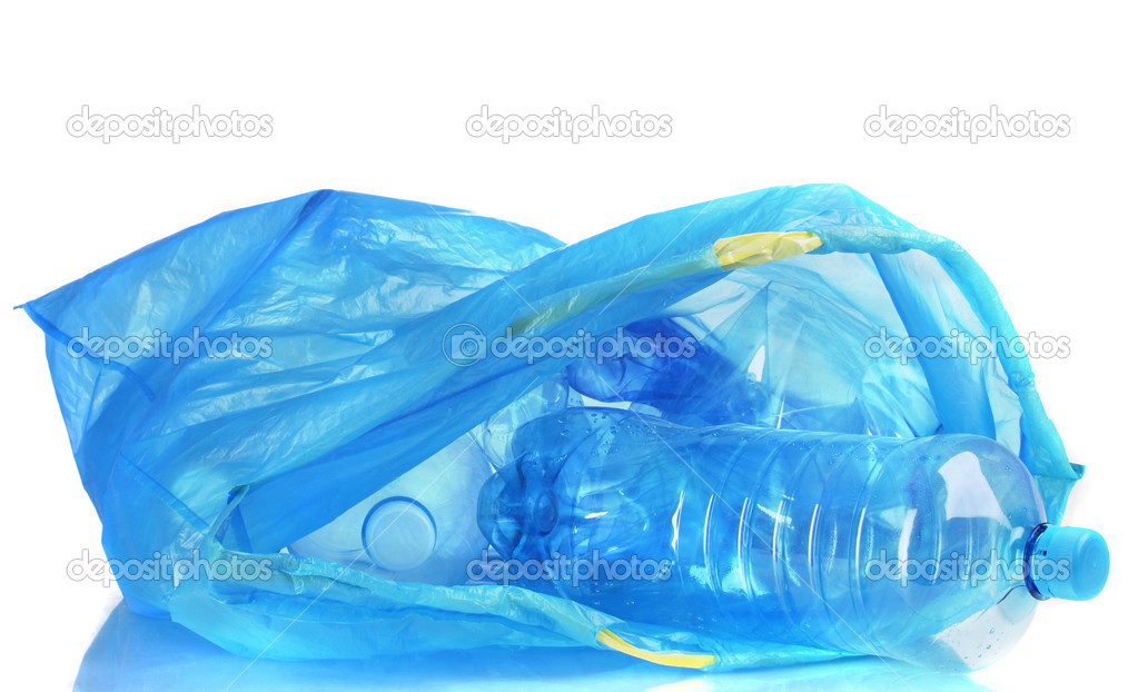 Trash Bag Open Open Blue Garbage Bag With