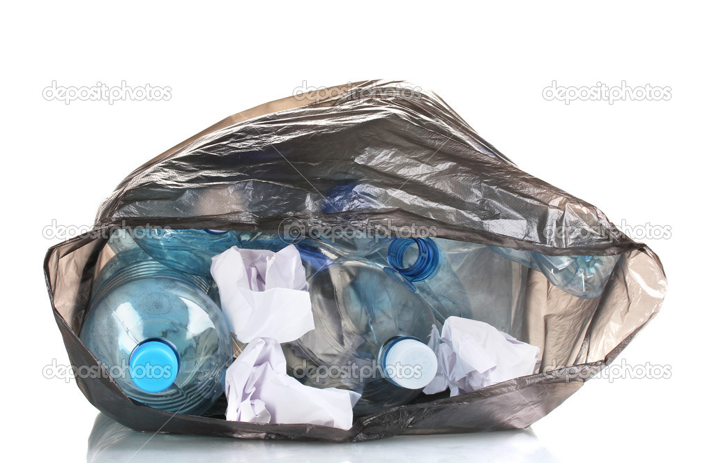 Trash Bag Open Open Black Garbage Bag With Trash Isolated on White Photo by Belchonock