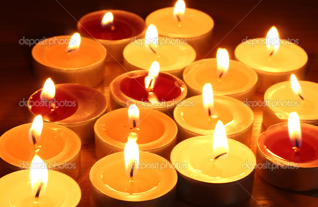 Beautiful candles and decor on wooden table — Stock Photo #10805045
