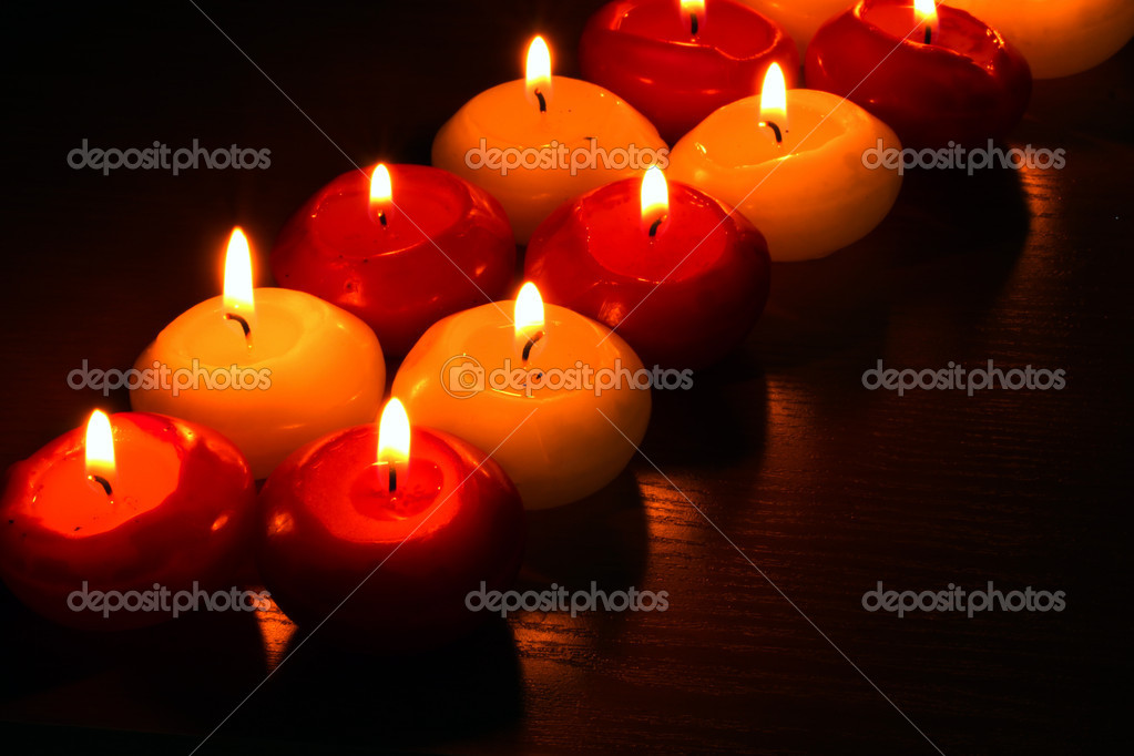 Beautiful candles and decor on wooden table — Stock Photo #10805055