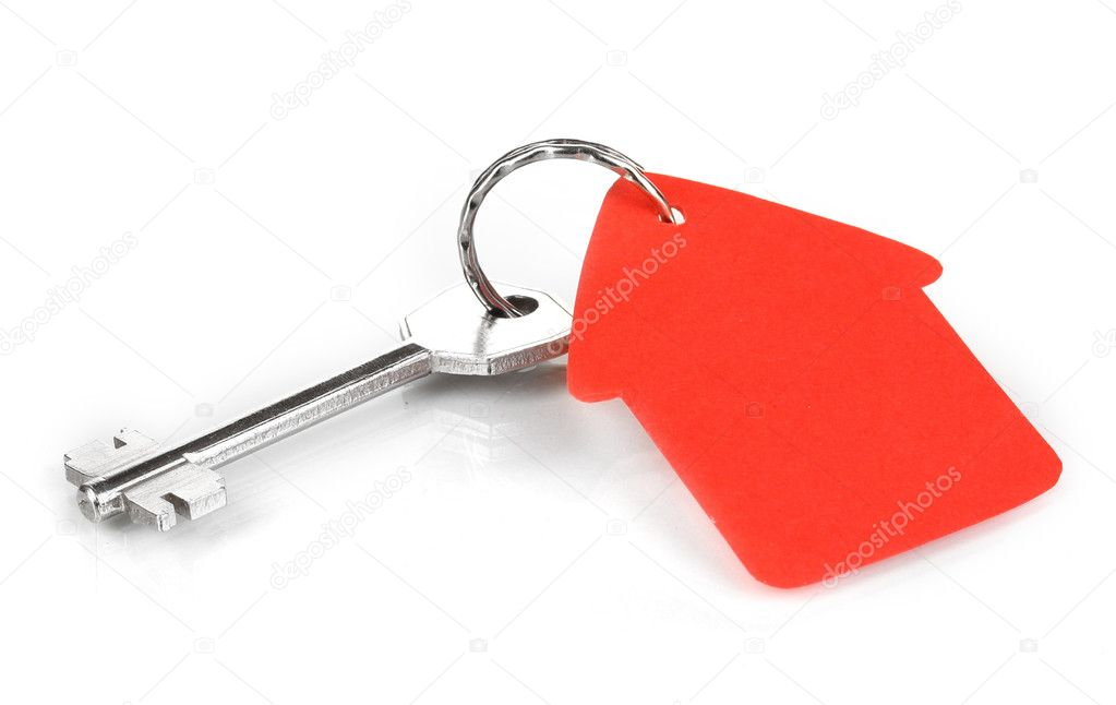 Key with house-shaped charm isolated on white — Stock Photo #10807288