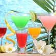 Exotic cocktails and flowers on table on blue sea background — Stock Photo #10810756