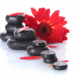 Spa stones with drops, red flower and petals isolated on white — Stock Photo