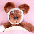 Sick bear in bed — Stock Photo