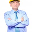 Man architect with helmet isolated on white — Stock Photo