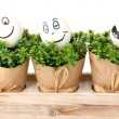 White eggs with funny faces on green bushes — Stock Photo
