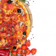 Delicious pizza, vegetables and salami isolated on white — ストック写真