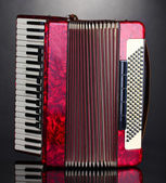 Retro accordion on grey background — Stock Photo