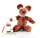 Sick bear wrapped with bandage isolated on white — Stock Photo