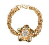 Beautiful golden bracelet with precious stones isolated on white — Stock Photo