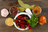 Composition of mortar with peppers and vegetables and spice on wooden background — Stock Photo
