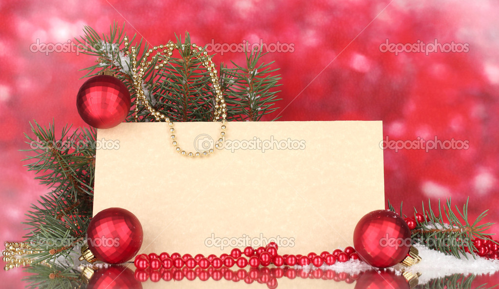 Blank postcard, Christmas balls and fir-tree on red background — Foto Stock #10821915