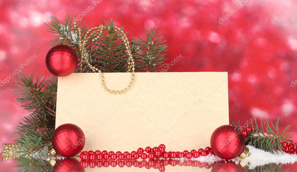 Blank postcard, Christmas balls and fir-tree on red background — Stok fotoğraf #10821915
