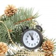 Green Christmas tree and clock isolated on white — Stock Photo #10882321