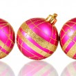 Beautiful pink Christmas balls isolated on white — Stock Photo #10893768
