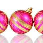 Beautiful pink Christmas balls isolated on white — Stock Photo #10893768