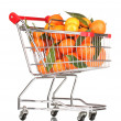 Ripe tasty tangerines in shopping cart isolated on white — Stock Photo #10894101