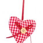 Decorative fabric heart isolated on white — Stock Photo