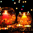 Stok fotoğraf: Wonderful composition of candles on wooden table on bright background