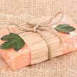 Hand-made natural soap on sackcloth — Stok fotoğraf