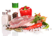 Raw meat and vegetables isolated on whitе — Stock Photo