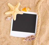 Photo with seashells and starfish on sand — Stock Photo