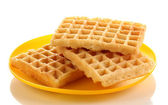 Sweet waffles on plate isolated on white — Fotografia Stock