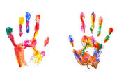 Color hand prints isolated on white — Stock Photo
