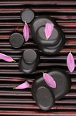 Spa stones and flower petals on bamboo mat — Stock Photo