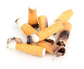 Cigarette butts isolateed on white — Stock Photo