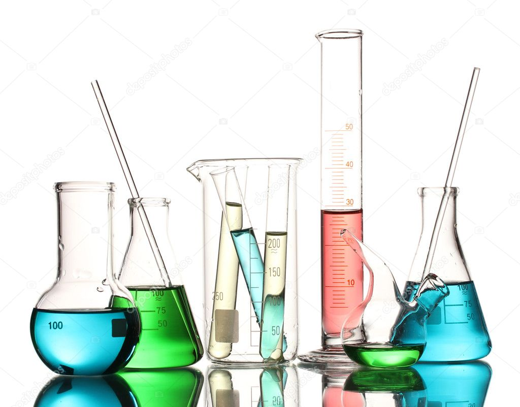 Different laboratory glassware with color liquid and with reflection isolated on white  Stock Photo #10890927