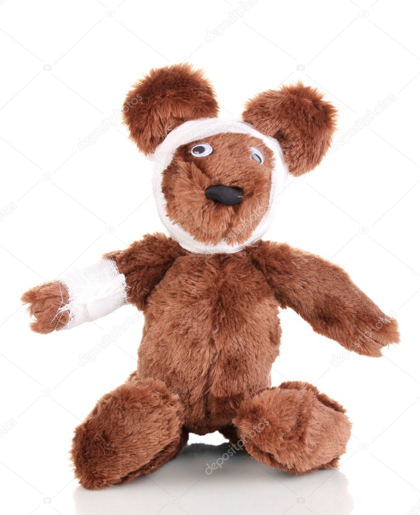 Sick bear wrapped with bandage isolated on white  Photo #10892367