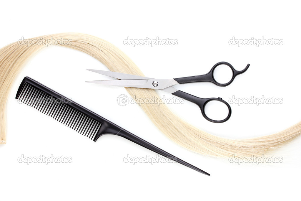 Shiny blond hair with hair cutting shears and comb isolated on white — Stock Photo #10895334
