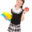 Beautiful little girl in school uniform with books and apple isolated on white — Stock Photo
