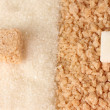 Pattern of white sugar and brown sugar close-up - Stock Photo