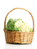 Fresh cauliflowers in basket, isolated on white — Stock Photo