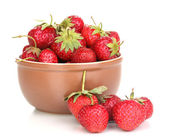 Sweet ripe strawberries in glass bowl isolated on white — Stock Photo