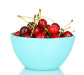 Cherry in a blue bowl isolated on white — Stock Photo