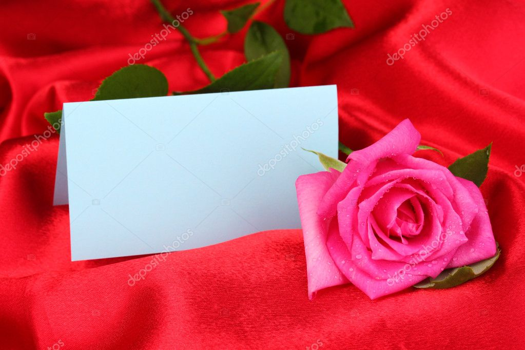 Beautiful rose on red cloth — Stock Photo #10923006