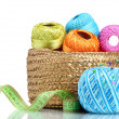 Bright threads for knitting in the basket isolated on white — Stock Photo #10940684
