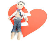 Voodoo doll boy on the broken heart isolated on white — Stock Photo