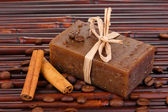 Hand-made soap on bamboo mat — Stock Photo