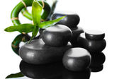 Spa stones and green bamboo on grey background — Stock Photo