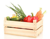 Fresh vegetables in crate isolated on white — Stock Photo